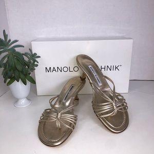 Manolo Blahnik Venni/Vinni Gold Sandals Slides NEW